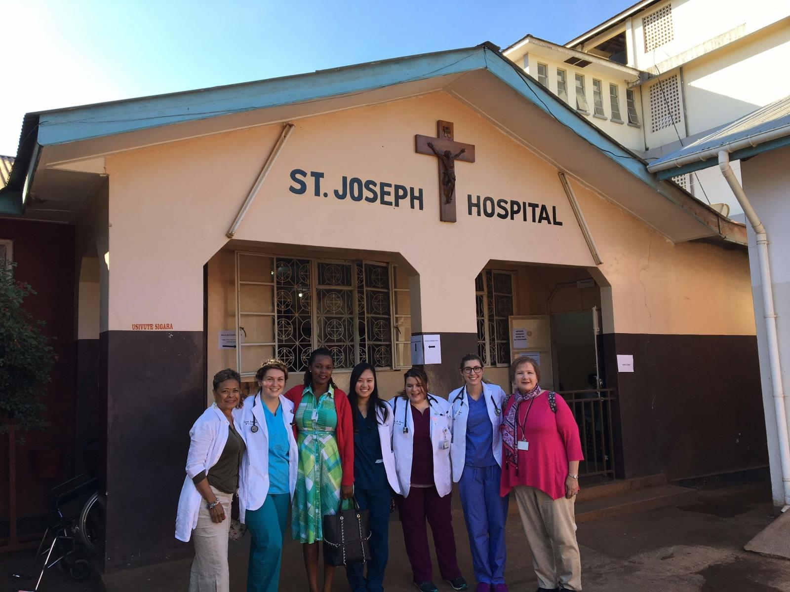 Medicine Elective students outside their placement hospital in Tanzania